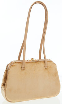 Judith Leiber Gold Suede Evening Bag with Jeweled Closure