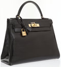 Luxury Accessories:Bags, Hermes 28cm Black Calf Box Leather Retourne Kelly Bag with GoldHardware . ...