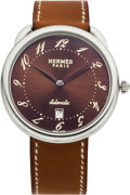 Luxury Accessories:Accessories, Hermes Arceau Stainless Steel TGM Watch with Natural BareniaLeather Strap. ...