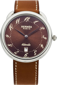 Hermes Arceau Stainless Steel TGM Watch with Natural Barenia Leather Strap