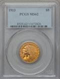 Indian Half Eagles: , 1913 $5 MS62 PCGS. PCGS Population (2780/2015). NGC Census:(4346/1583). Mintage: 915,900. Numismedia Wsl. Price for proble...
