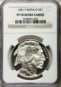 Modern Issues: , 2001-P $1 Buffalo Silver Dollar PR70 Ultra Cameo NGC. NGC Census:(1551). PCGS Population (911). Numismedia Wsl. Price for...