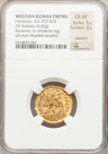 Ancients:Roman Imperial, Ancients: Honorius, Western Roman Emperor (AD 393-423). AV solidus(4.45 gm). ...