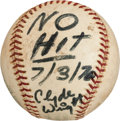 Baseball Collectibles:Balls, 1970 Clyde Wright No-Hitter Game Used Baseball....