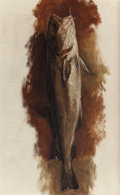 Fine Art - Painting, American:Antique  (Pre 1900), KENYON COX (American, 1856-1919). Trout, circa 1885. Oil oncanvas. 28 x 17 inches (71.1 x 43.2 cm). THE JEAN AND GRAH...