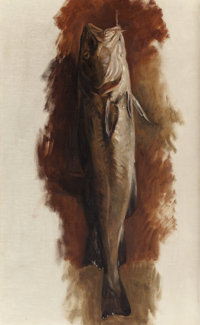 KENYON COX (American, 1856-1919) Trout, circa 1885 Oil on canvas 28 x 17 inches (71.1 x 43.2 cm)<
