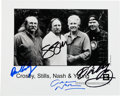 Music Memorabilia:Autographs and Signed Items, Crosby Stills Nash and Young Signed Publicity Photo.... (Total: 2Items)