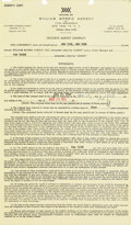 Music Memorabilia:Documents, Sam Cooke Signed William Morris Agency Contract (1962-3)....