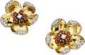 Estate Jewelry:Earrings, Diamond, Spinel, Platinum-Topped Gold Earrings. ...