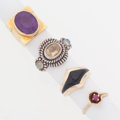 Estate Jewelry:Rings, Multi-Stone, Gold, Silver Rings. ... (Total: 4 Items)