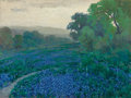 Paintings, JULIAN ONDERDONK (American, 1882-1922). Bluebonnets, Cloudy Morning, San Antonio, Texas, 1916. Oil on board. 9 x 12 inch...