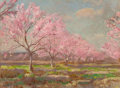 Texas, JULIAN ONDERDONK (American, 1882-1922). A Peach Orchard inBloom, 1921. Oil on board. 8-7/8 x 11-7/8 inches (22.5 x30.2...