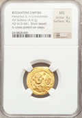Ancients:Byzantine, Ancients: Heraclius, with Heraclius Constantine (AD 610-641). AVsolidus (4.41 gm)....