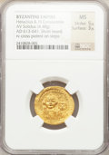 Ancients:Byzantine, Ancients: Heraclius, with Heraclius Constantine (AD 610-641). AVsolidus (4.48 gm)....