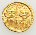 Ancients:Byzantine, Ancients: Constans II, with Constantine IV, Heraclius, and Tiberius(AD 641-668). AV solidus (4.47 gm)....