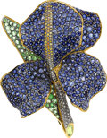 Estate Jewelry:Brooches - Pins, Diamond, Colored Diamond, Sapphire, Tsavorite Garnet, Gold, SilverBrooch, Andrea Molinari. ...