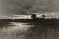 WILLIAM CROTHERS FITLER (American, 1857-1900) In the Marshes, 1882 Oil on canvas 12-3/4 x 18-1/2