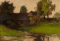 Fine Art - Painting, American:Modern  (1900 1949)  , ALEXIS JEAN FOURNIER (American, 1865-1948). House by a Lake,France. Oil on board. 6-1/2 x 9 inches (16.5 x 22.9 cm). Si...