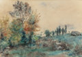 Fine Art - Painting, American:Antique  (Pre 1900), FREDERICK WARREN FREER (American, 1849-1908). ForestLandscape. Watercolor on paper. 15 x 21-1/2 inches (38.1 x 54.6cm)...