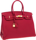 Luxury Accessories:Bags, Hermes 35cm Rubis Clemence Leather Birkin Bag with Gold Hardware....