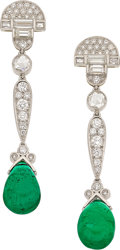 Estate Jewelry:Earrings, Diamond, Emerald, Platinum, Gold Earrings. ... (Total: 2 Items)