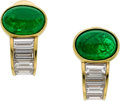 Estate Jewelry:Earrings, Emerald, Diamond, Gold Earrings, Bvlgari. ... (Total: 2 Items)