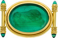 Estate Jewelry:Brooches - Pins, Chalcedony, Mother-of-Pearl, Glass, Gold Brooch, Elizabeth Locke. ...