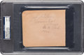 Autographs:Others, 1944 Josh Gibson & Satchel Paige Signed Album Page, PSA/DNAMint 9....