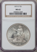 Trade Dollars: , 1875-S T$1 MS62 NGC. NGC Census: (184/391). PCGS Population(204/504). Mintage: 4,487,000. Numismedia Wsl. Price for proble...