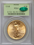Saint-Gaudens Double Eagles: , 1910 $20 MS64 PCGS. CAC. PCGS Population (1162/171). NGC Census:(864/74). Mintage: 482,000. Numismedia Wsl. Price for prob...