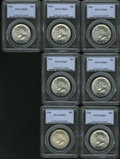 Kennedy Half Dollars: , (7)1964 50C MS64 PCGS. PCGS Population (492/1831). NGC Census:(358/703). Mintage: 273,300,000. Numismedia Wsl. Price for N...(Total: 7 Coins Item)