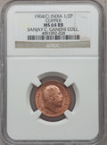 India:British India, India: British India. Edward VII 1/2 Pice 1904 (c) MS64 Red and Brown NGC,...