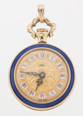 Timepieces:Pendant , Swiss Lady's Pendant 18k Gold & Enamel Watch. ...