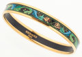 Luxury Accessories:Accessories, Hermes 65mm Black & Blue Enamel Bangle Bracelet with GoldHardware. ...
