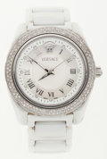 Luxury Accessories:Accessories, Versace Stainless Steel & White Ceramic Watch with Crystal Accents . ...