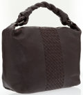 Luxury Accessories:Bags, Bottega Veneta Brown Leather Shoulder Bag with Intrecciato Detail ....