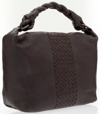 Bottega Veneta Brown Leather Shoulder Bag with Intrecciato Detail