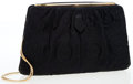 Luxury Accessories:Bags, Judith Leiber Black Silk & Embroidered Floral Pattern EveningBag. ...