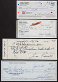 Baseball Collectibles:Others, New York Yankees Greats Signed Checks Lot of 4....