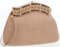 Luxury Accessories:Bags, Judith Leiber Taupe Lizard Clutch Bag with Cabochon Frame Closure ....