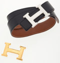 Luxury Accessories:Accessories, Hermes Black Calf Box Leather & Gold Courchevel LeatherReversible Belt with Gold and Palladium H Buckles. ... (Total: 2Items)