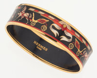 Hermes 65mm Black & Red Enamel Bangle Bracelet with Gold Hardware