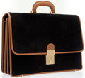 Luxury Accessories:Bags, Gucci Black Suede & Tan Leather Briefcase with Gold Hardware....