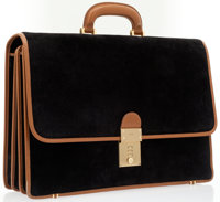 Gucci Black Suede & Tan Leather Briefcase with Gold Hardware
