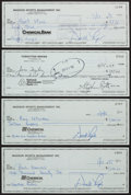 Football Collectibles:Others, Green Bay Packers Greats Signed Checks Lot of 4....