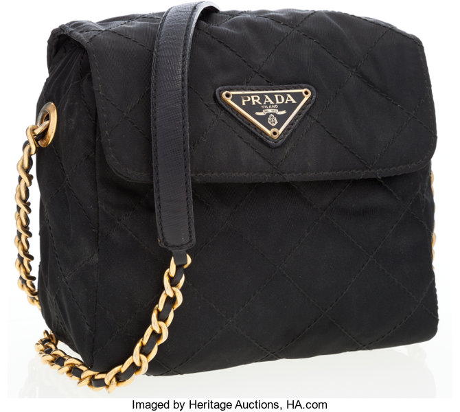 282fc849b85c ... Luxury Accessories:Bags, Prada Black Quilted Nylon Crossbody Bag with  Gold & BlackLeather ...