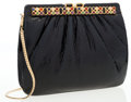 Luxury Accessories:Bags, Judith Leiber Black Lizard Clutch Bag with Cabochon Frame Closure ....