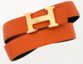 Luxury Accessories:Accessories, Hermes Orange H Togo Leather and Black Calf Box Leather ReversibleH Belt with Gold Hardware . ...