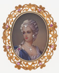 Estate Jewelry:Brooches - Pins, Painted Portrait, Diamond, Ruby, Gold Brooch. ...
