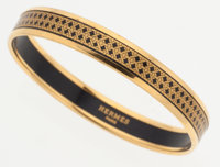 Hermes 65mm Black & Gold Enamel Bangle Bracelet with Gold Hardware